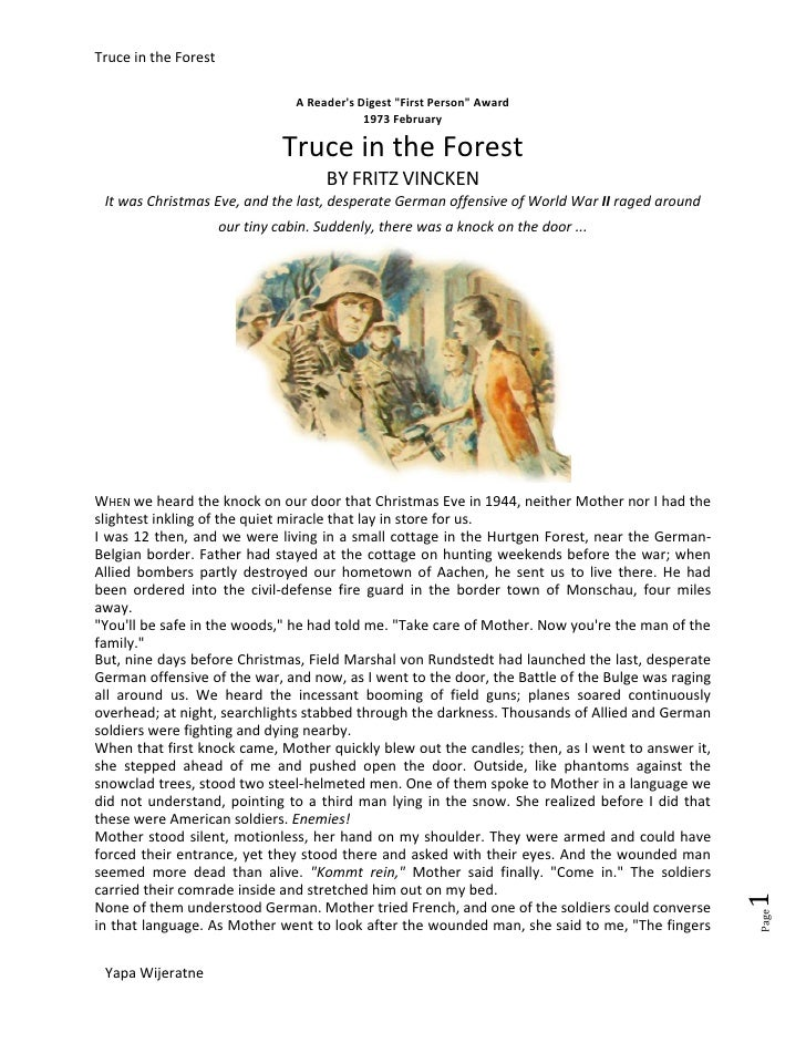 truce in the forest fritz vincken In our sermon on remembrance sunday, our minister peter considered the gospel of matthew 5:1-10 and verses 38-48, and the powerful story of the 'truce in the forest.