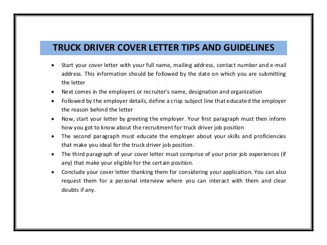Doc Job Description Truck Driver Truck Driver Job Informal Business Report  Formal Template Cover Letter For