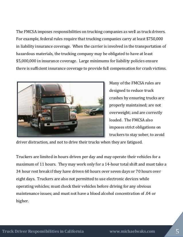 Truck Driver Responsibilities In California
