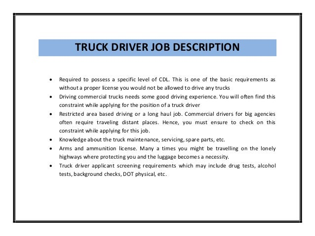 Cdl Truck Driver Resume 2017 2018 Best Cars Reviews