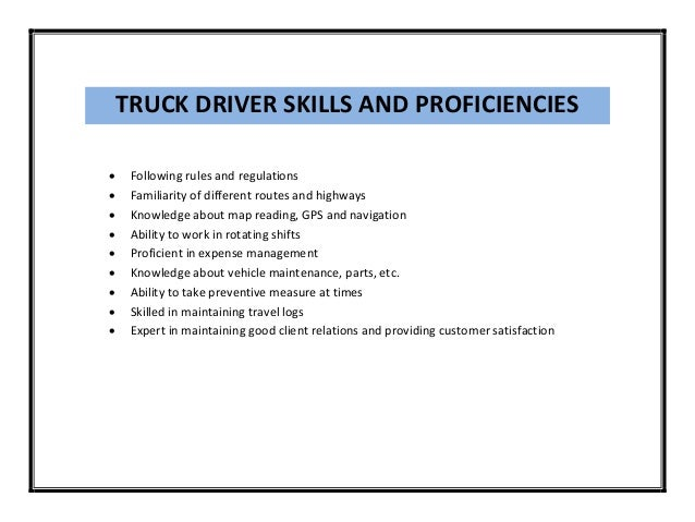 truck driving skills for resumes - Truck Driving Resume