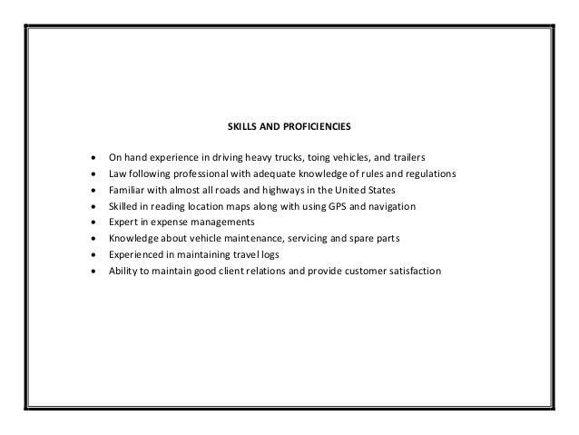 skills for truck driver resume