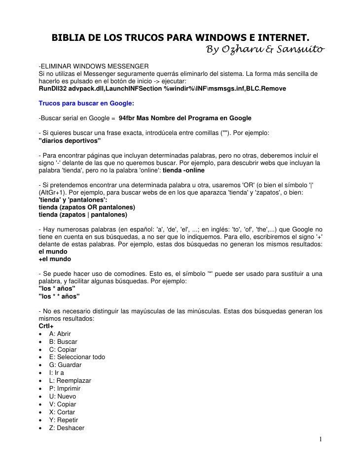 BIBLIA DE LOS TRUCOS PARA WINDOWS E INTERNET.                                By Ozharu & Sansuito -ELIMINAR WINDOWS MESSEN...