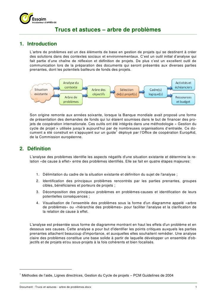 Trucs et astuces – arbre de problèmes1. Introduction        L'arbre de problèmes est un des éléments de base en gestion de...