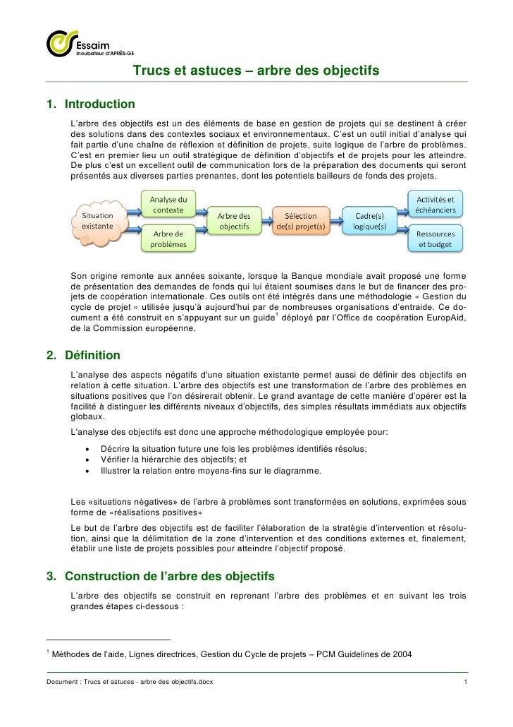 Trucs et astuces – arbre des objectifs1. Introduction        L'arbre des objectifs est un des éléments de base en gestion ...
