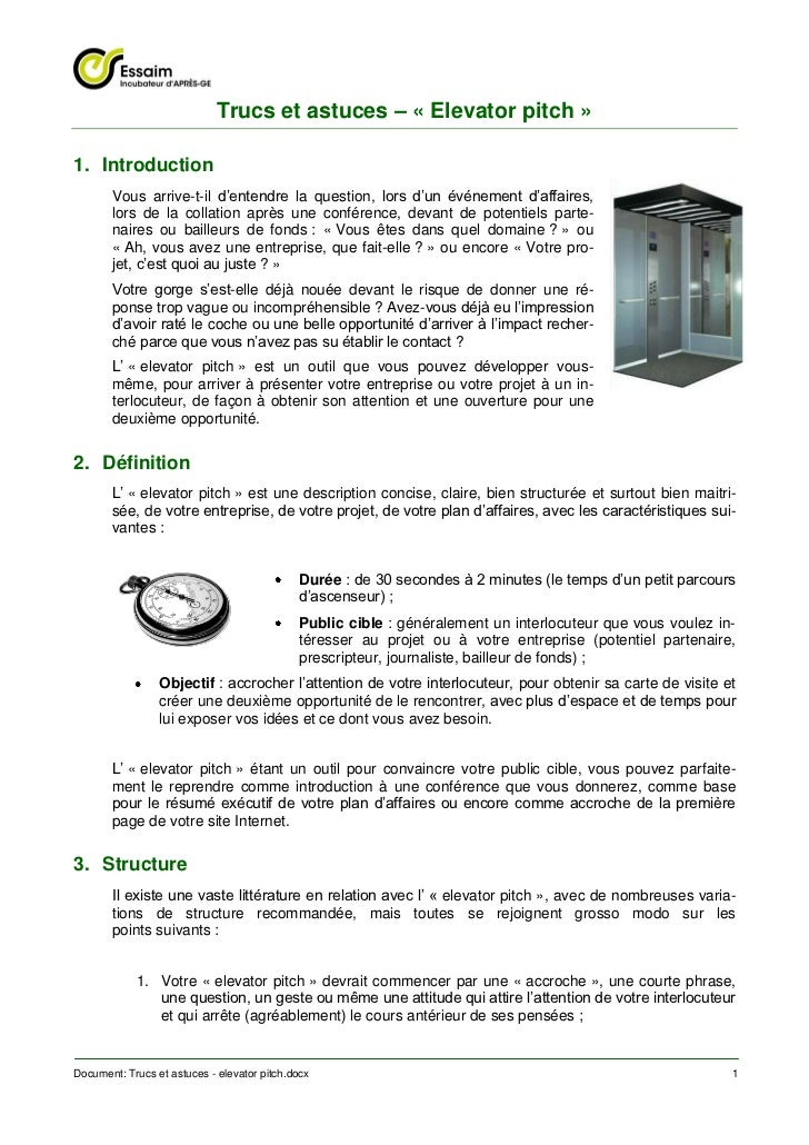 Trucs et astuces – « Elevator pitch »1. Introduction       Vous arrive-t-il d'entendre la question, lors d'un événement d'...