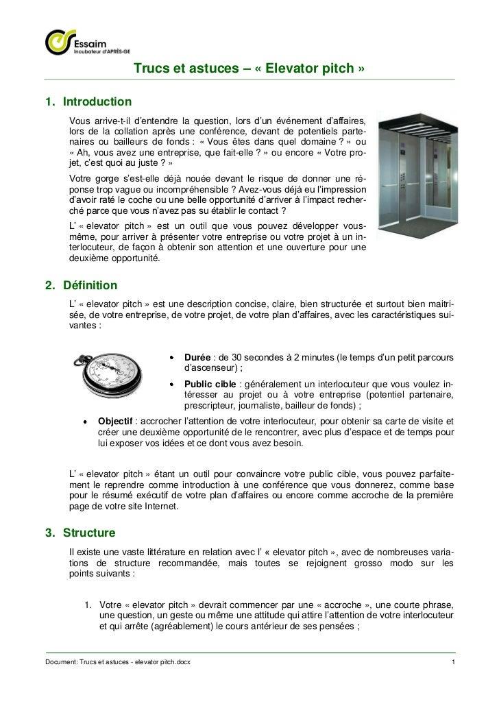Trucs et astuces - elevator pitch