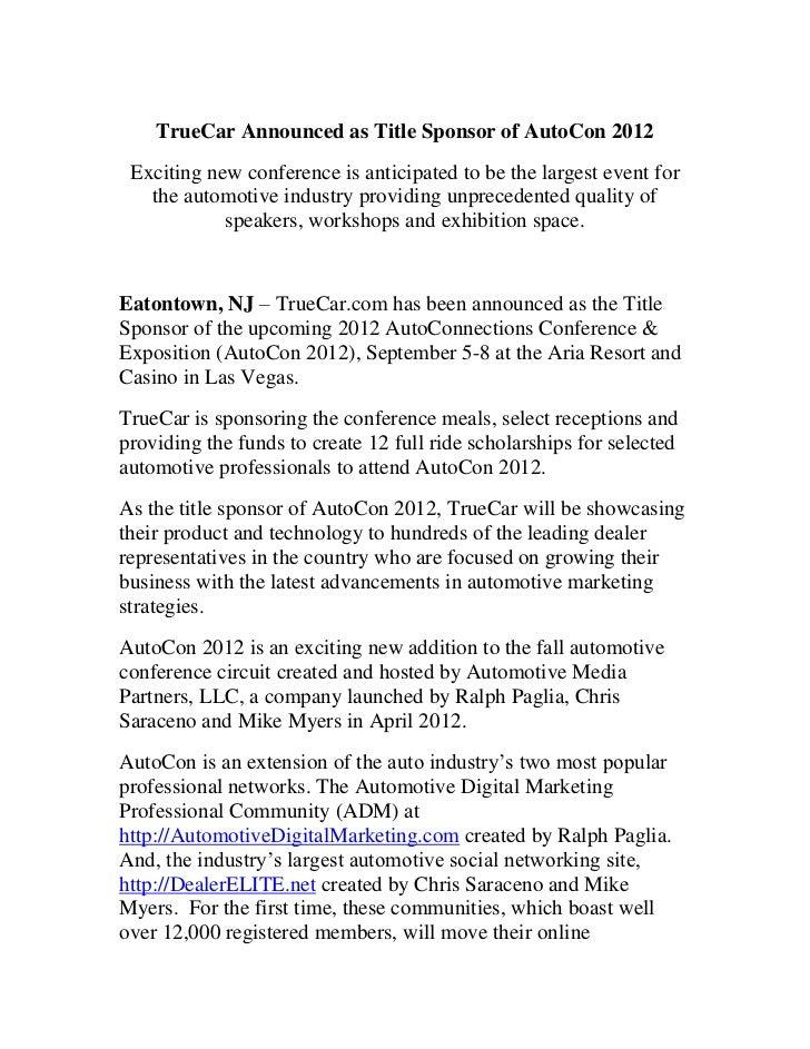 True car announced as title sponsor of autocon 2012