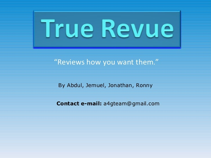 True Revue app idea pitch
