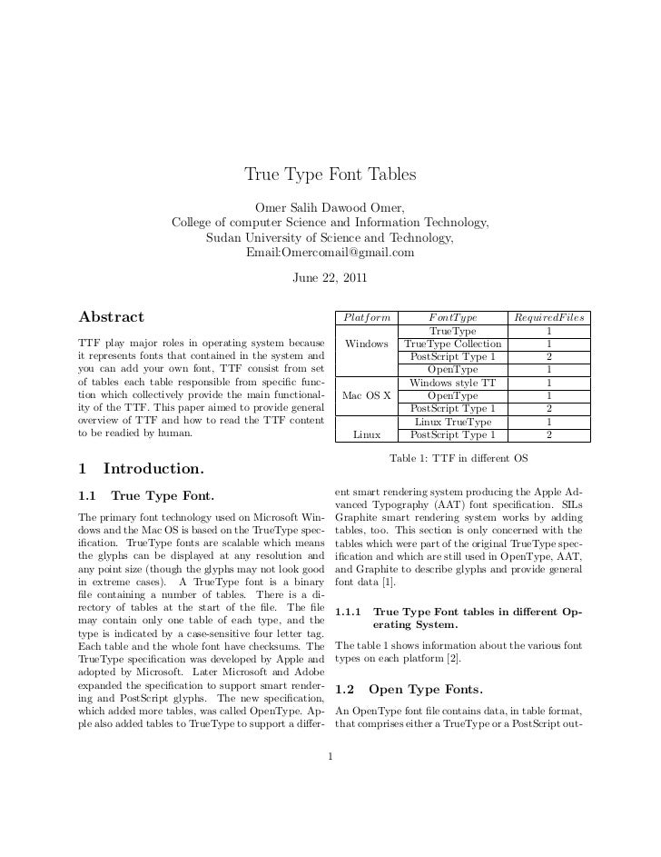 True type font tables