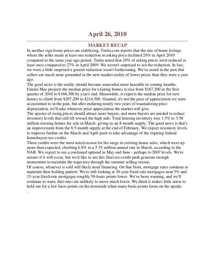 Trulia Report April 2010 Reports Market Bottom