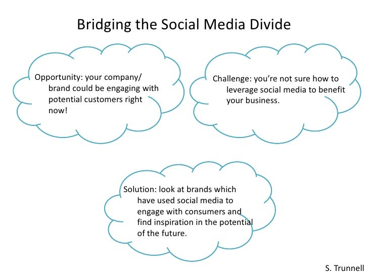 Bridging the Social Media Divide<br />Opportunity: your company/ brand could be engaging with potential customers right no...
