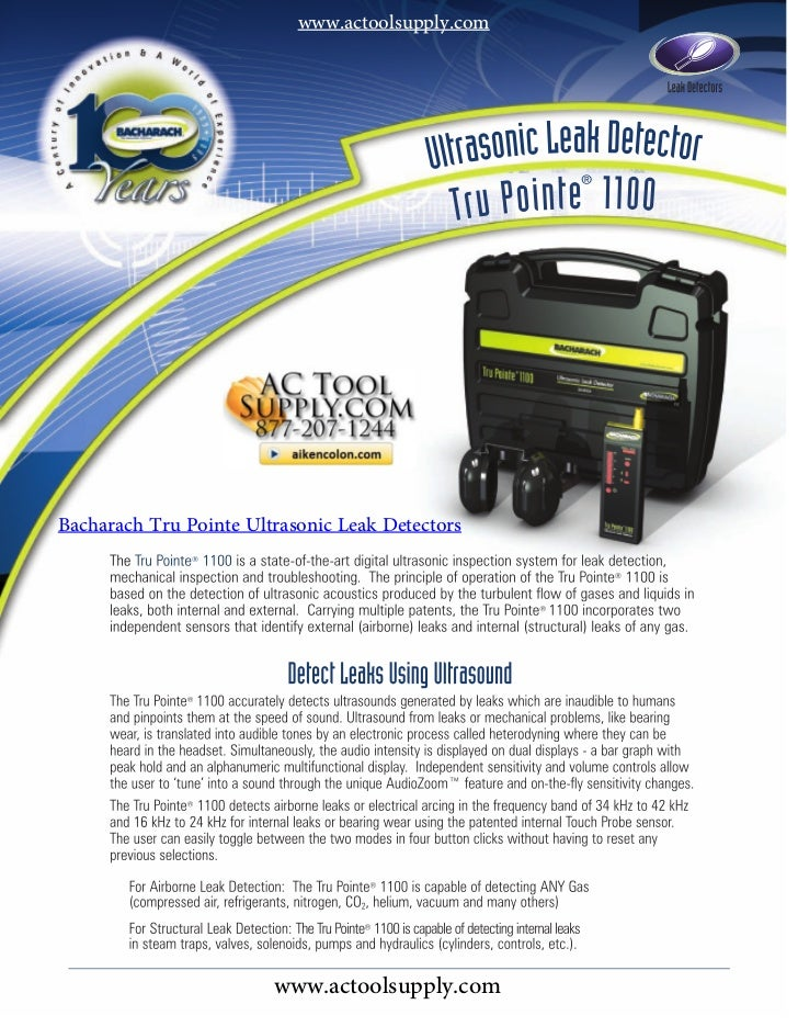 www.actoolsupply.comBacharach Tru Pointe Ultrasonic Leak Detectors                        www.actoolsupply.com