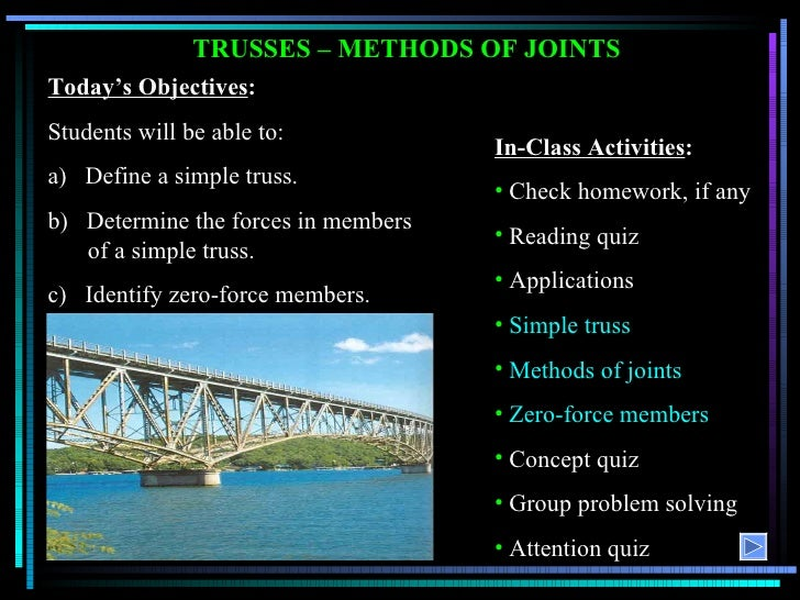 TRUSSES – METHODS OF JOINTS Today's Objectives : Students will be able to: a)  Define a simple truss. b)  Determine the fo...