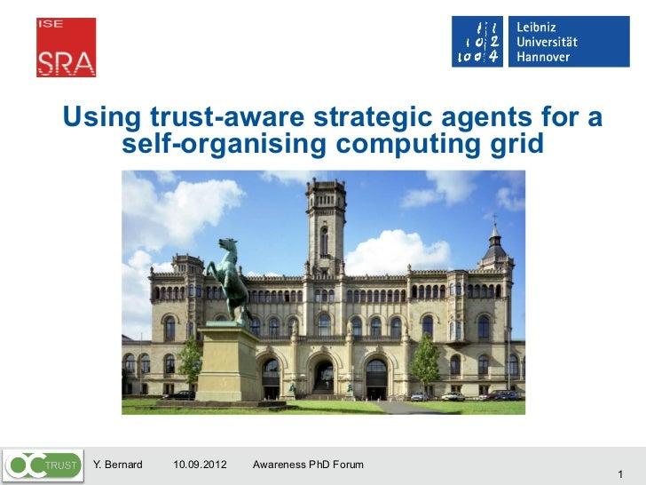 Using trust-aware strategic agents for a self-organising computing grid