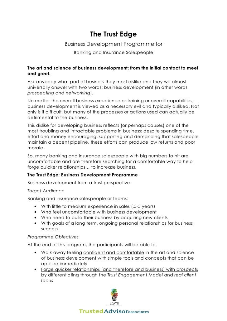 Trust  Edge  Business  Development  Programme For  Banking  Insurance  Sales  Egyii