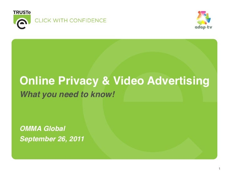 Online Privacy & Video AdvertisingWhat you need to know!OMMA GlobalSeptember 26, 2011                                     1