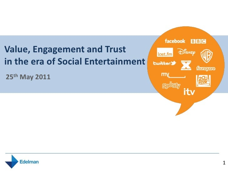 Value, Engagement and Trust in the era of Social Entertainment: 2011