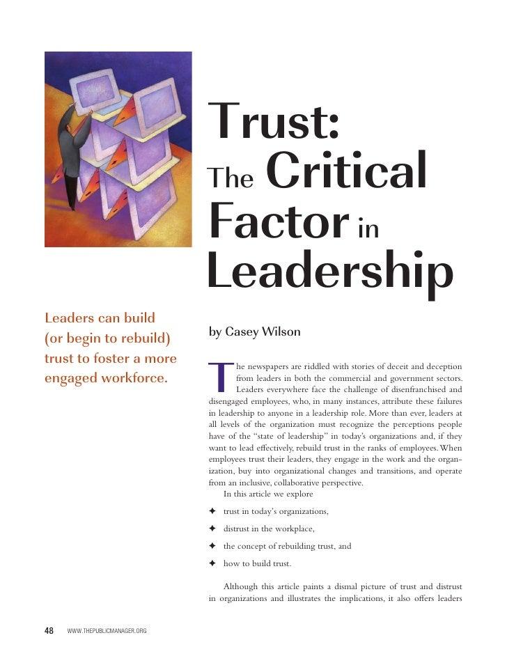 Trust:                                 The Critical                                 Factor in                             ...