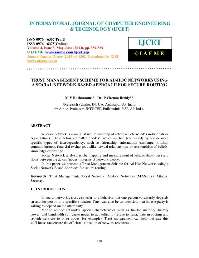 Trust management scheme for ad hoc networks using a social network bas