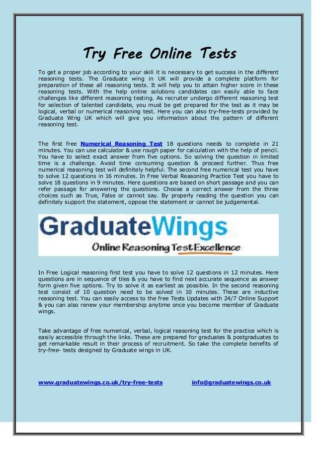 Try free online tests   www.graduatewings.co.uk