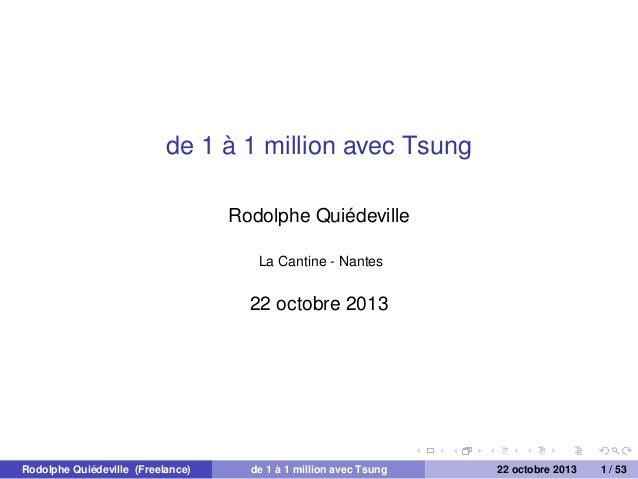 de 1 à 1 million avec Tsung Rodolphe Quiédeville La Cantine - Nantes  22 octobre 2013  Rodolphe Quiédeville (Freelance)  d...