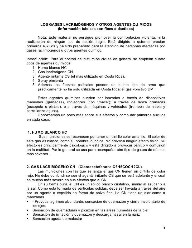LOS GASES LACRIMÓGENOS Y OTROS AGENTES QUIMICOS               (Información básicas con fines didácticos)       Nota: Este ...