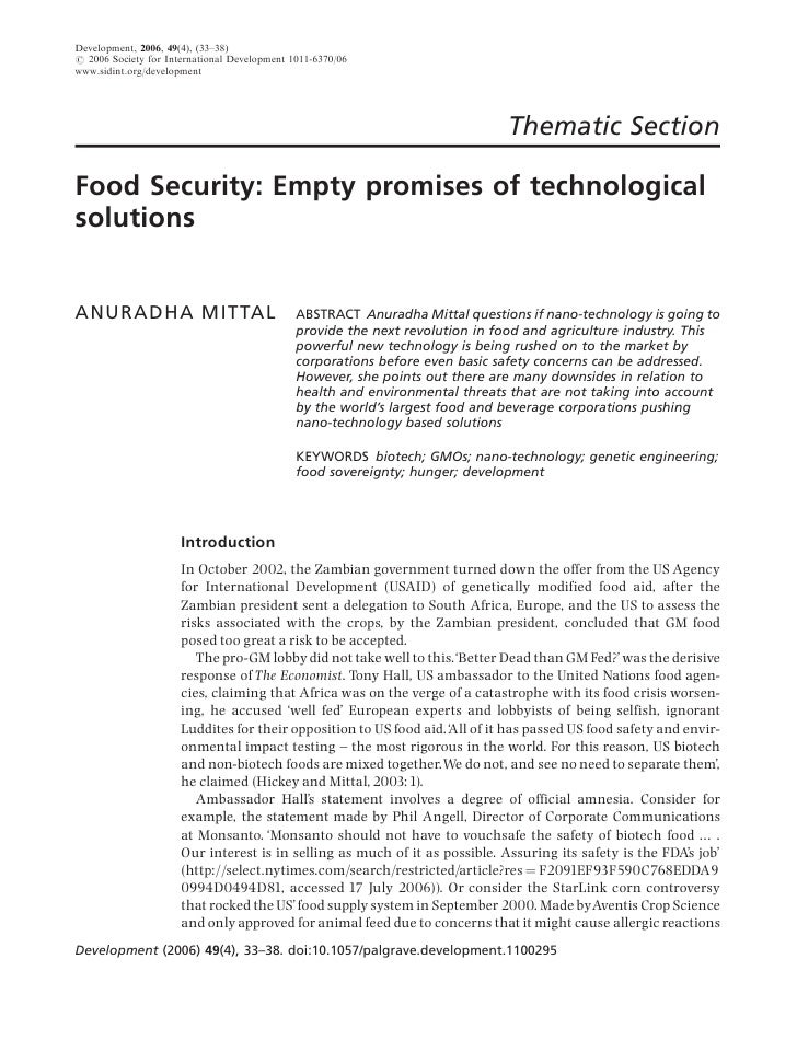 Food Security: Empty promises of technological solutions