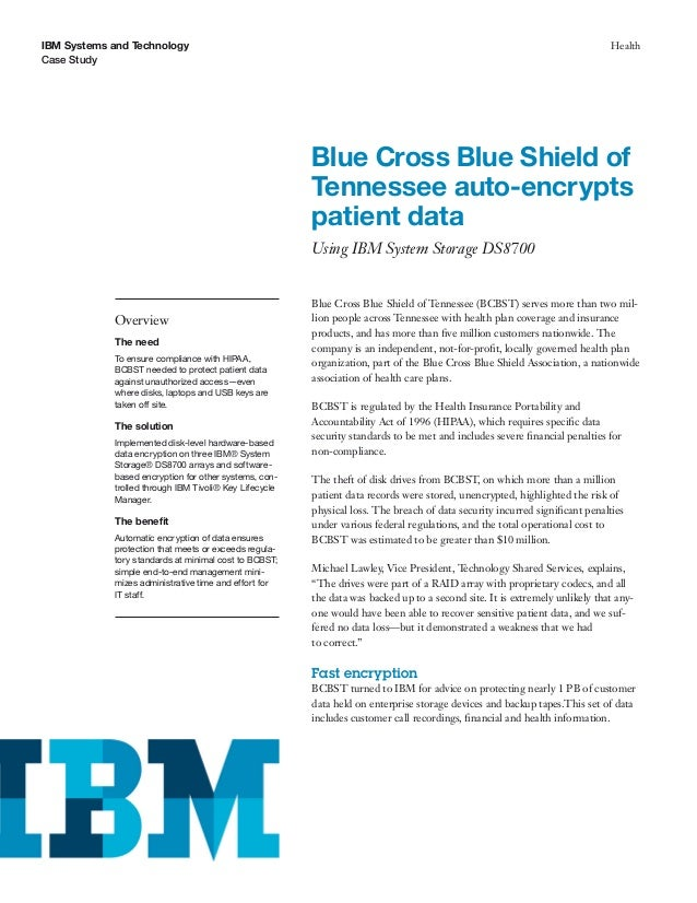Blue Cross Blue Shield of Tennessee auto-encrypts patient data