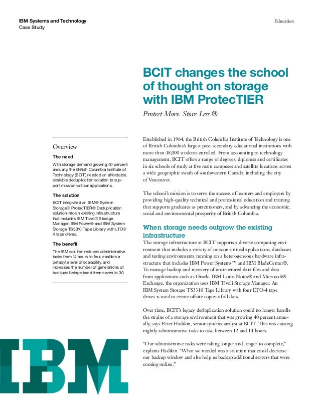 BCIT changes the school of thought on storage with IBM ProtecTIER
