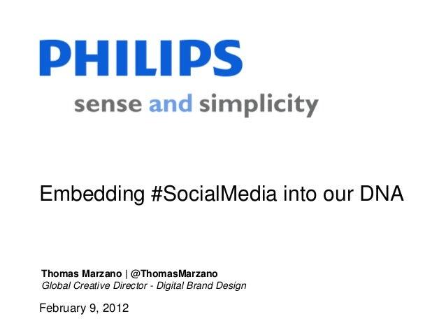 February 9, 2012 Embedding #SocialMedia into our DNA Thomas Marzano | @ThomasMarzano Global Creative Director - Digital Br...