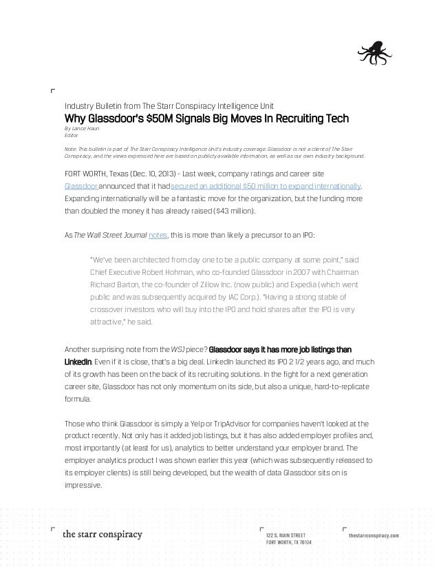 Industry Bulletin from The Starr Conspiracy Intelligence Unit  Why Glassdoor's $50M Signals Big Moves In Recruiting Tech B...