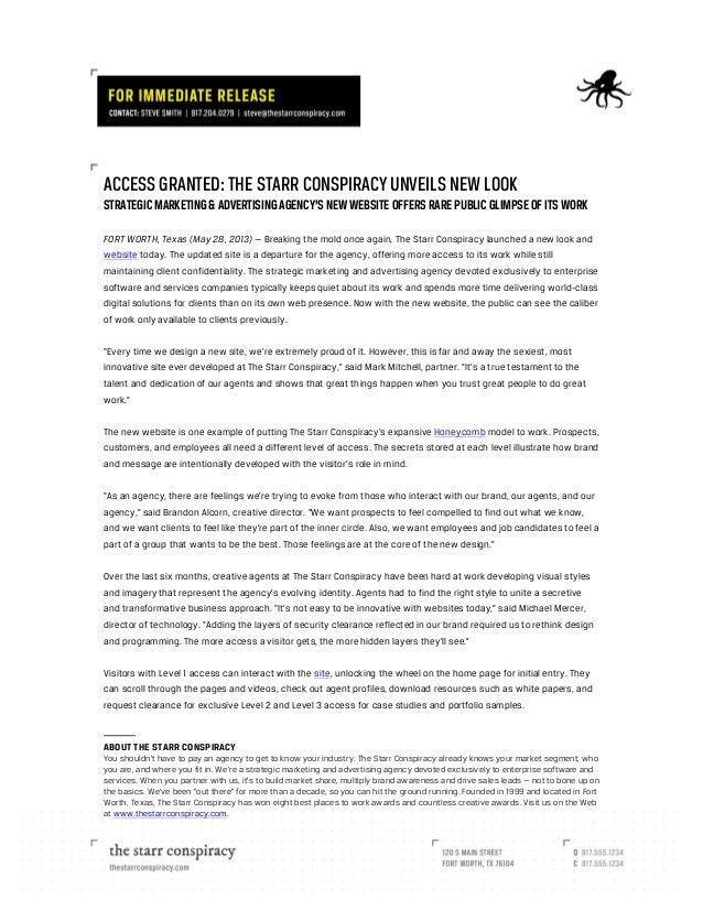 ACCESS GRANTED: THE STARR CONSPIRACY UNVEILS NEW LOOK STRATEGIC MARKETING & ADVERTISING AGENCY'S NEW WEBSITE OFFERS RARE...
