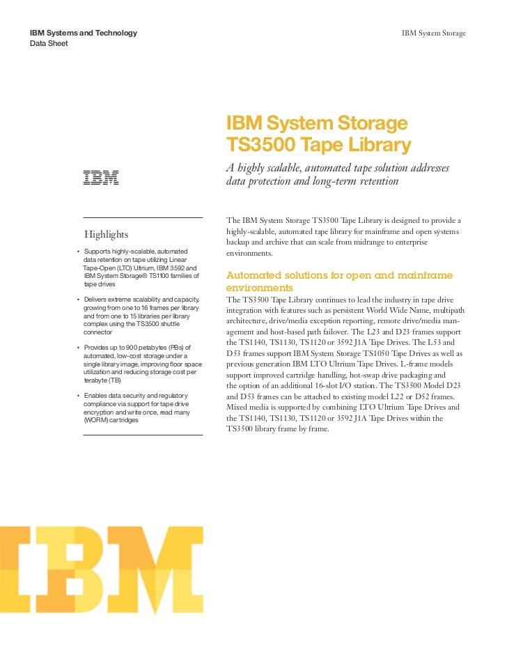 IBM System Storage TS3500 Tape Library