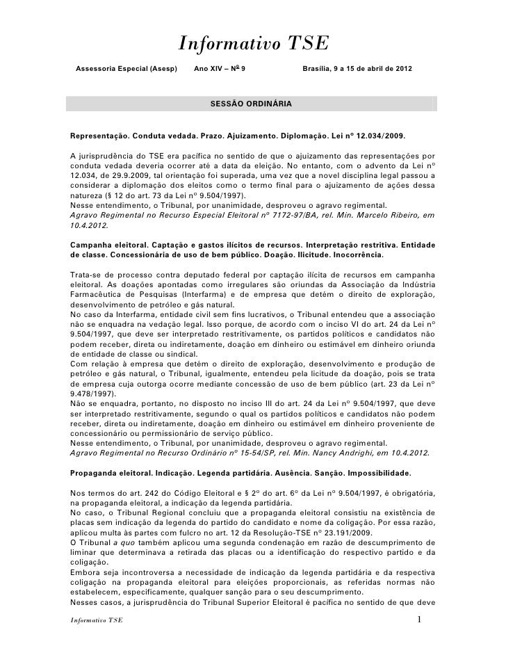 Informativo TSE Assessoria Especial (Asesp)    Ano XIV – No 9               Brasília, 9 a 15 de abril de 2012             ...