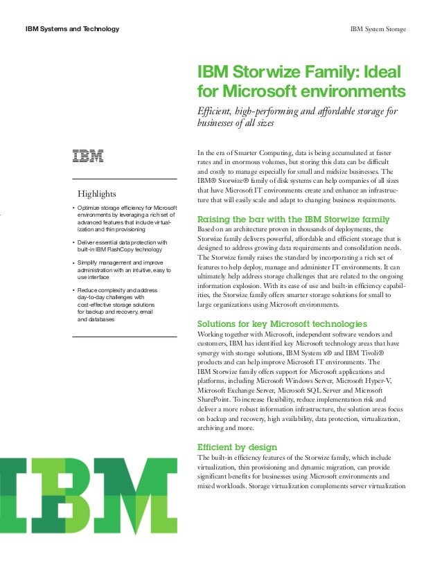 IBM Storwize Family: Ideal for Microsoft environments