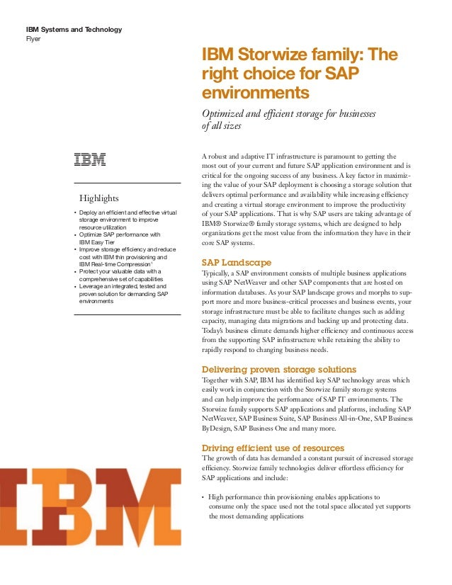 IBM Storwize family: The right choice for SAP environments