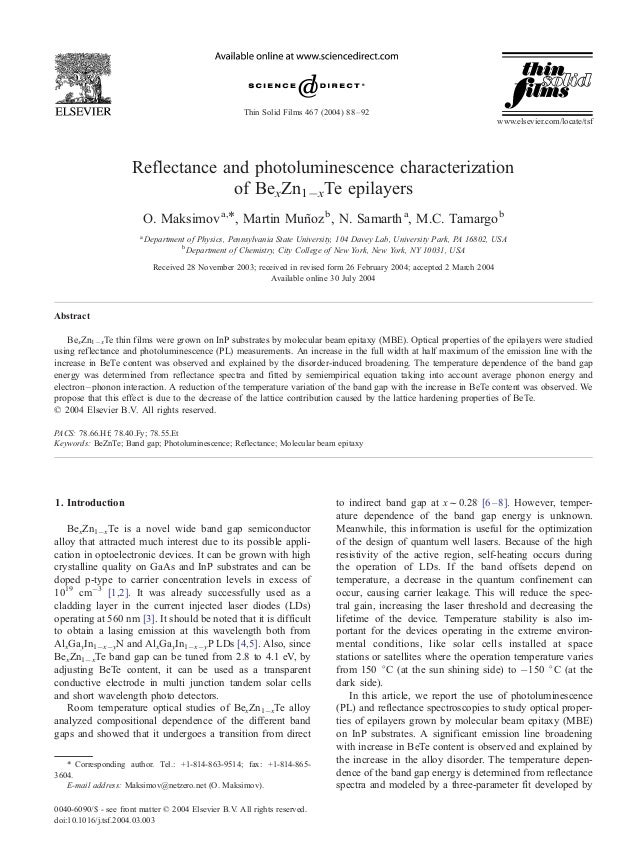 Reflectance and photoluminescence characterization of BexZn1