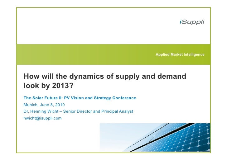 """The Solar Future DE - Henning Wicht """"How will the dynamics of supply and demand look by 2013? """""""