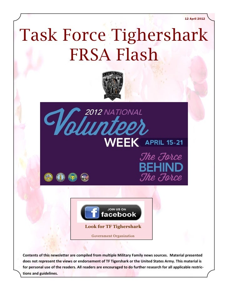 12 April 2012Task Force Tighershark      FRSA Flash                                     Look for TF Tighershark           ...