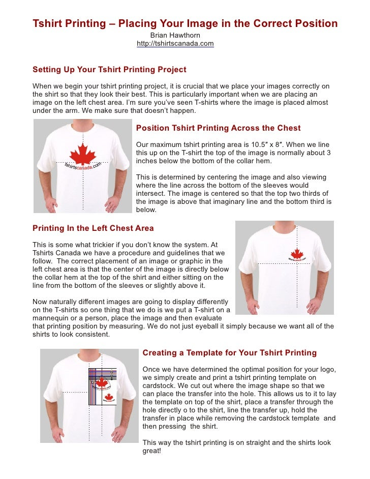 Tshirt printing placing your image in the correct position for How to get into the t shirt printing business