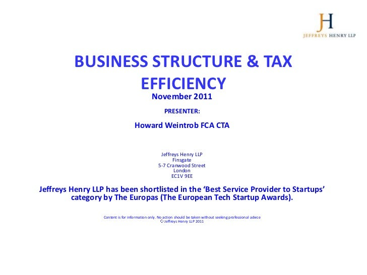 TSH Master Class Business Structure and Tax Efficiency