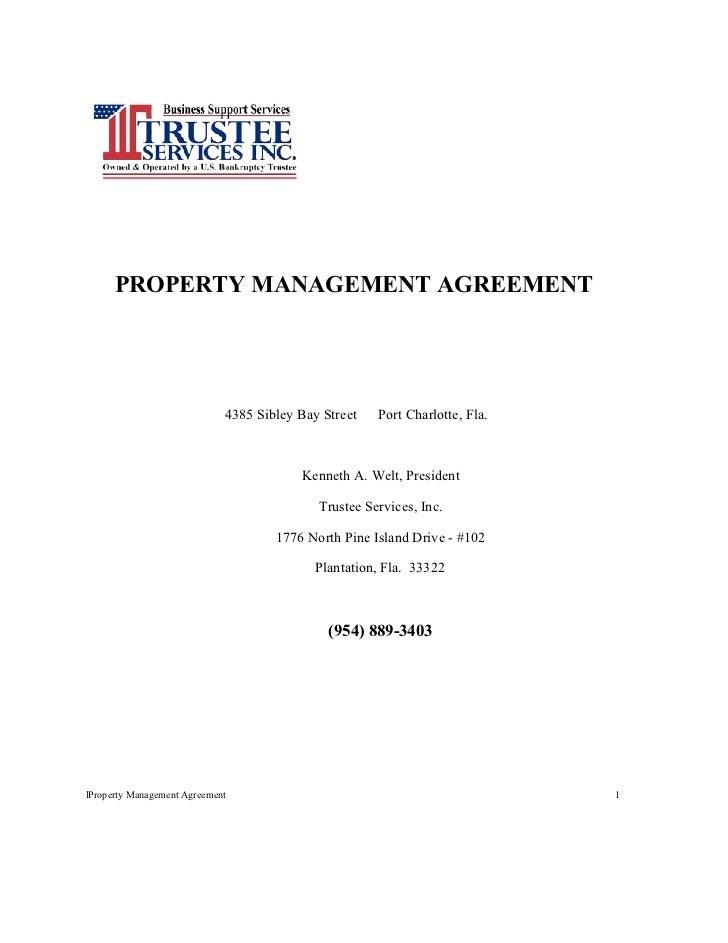 TSI Residential Propertyl Management Agreement