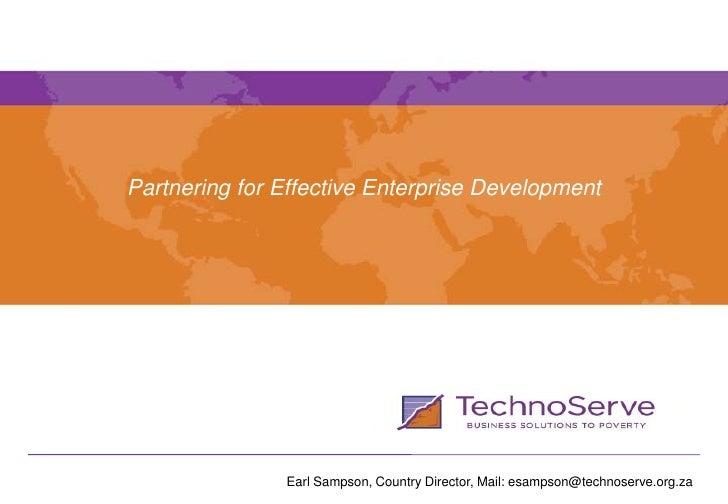Partnering for effective enterprise development - Tshikululu Serious Enterprise Development workshop 2010