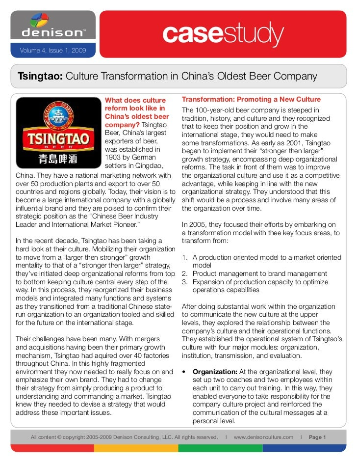 Tsingtao: Culture Transformation in China's Oldest Beer Company