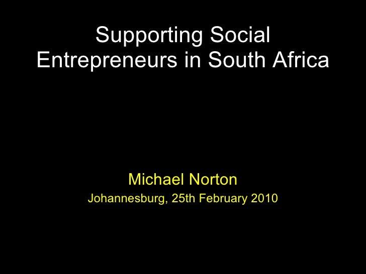 Supporting social entrepreneurs in SA - Tshikululu Social Investments workshop 2010