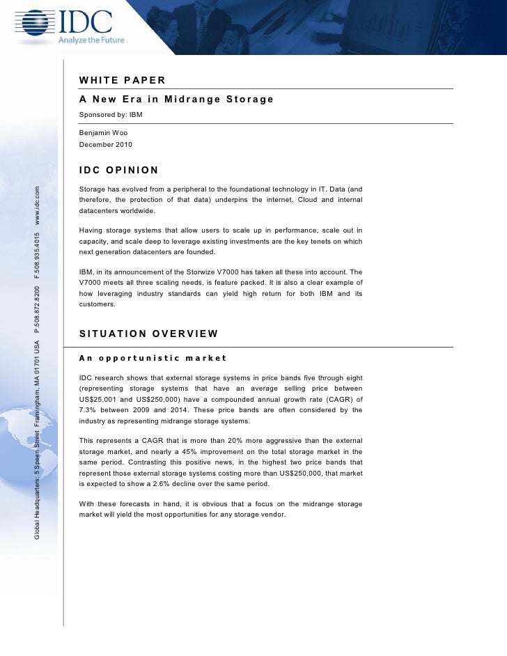 A New Era in Midrange Storage IDC Analyst paper