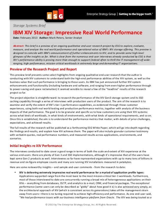 IBM XIV Storage: Impressive Real World Performance
