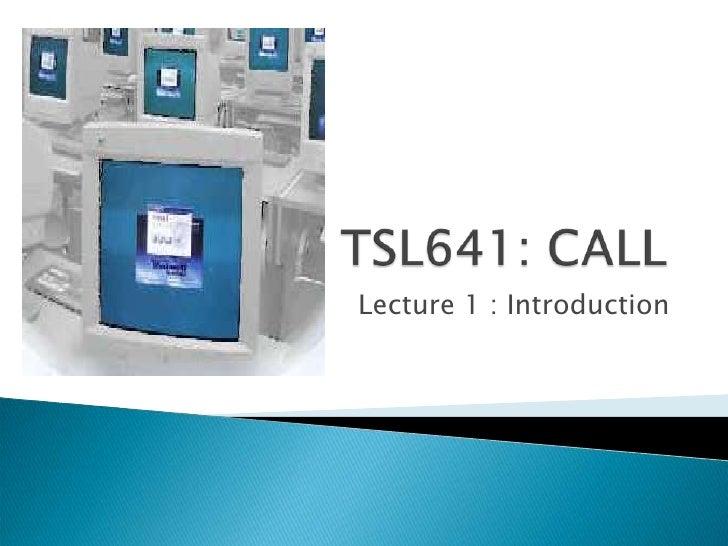 Tsl641 Lecture 1