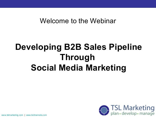 Welcome to the Webinar            Developing B2B Sales Pipeline                      Through               Social Media Ma...
